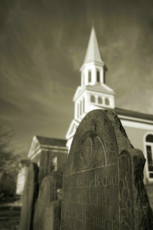 Old Hill Burial Ground with Church, Concord, MA