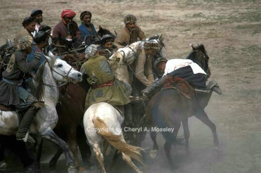 BuzKashi, hanging over horse - ID: 355760 © Cheryl  A. Moseley