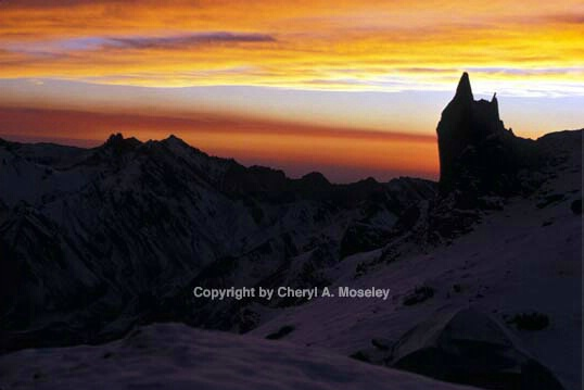 Sunset from tent 17,000' on Aconcagua, Andes - ID: 355805 © Cheryl  A. Moseley