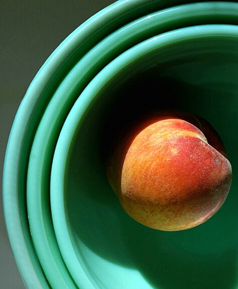 Green Bowls with Peach