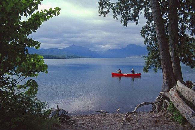 Canoe on Lake McDonald