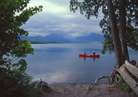 Canoe on Lake McDonald