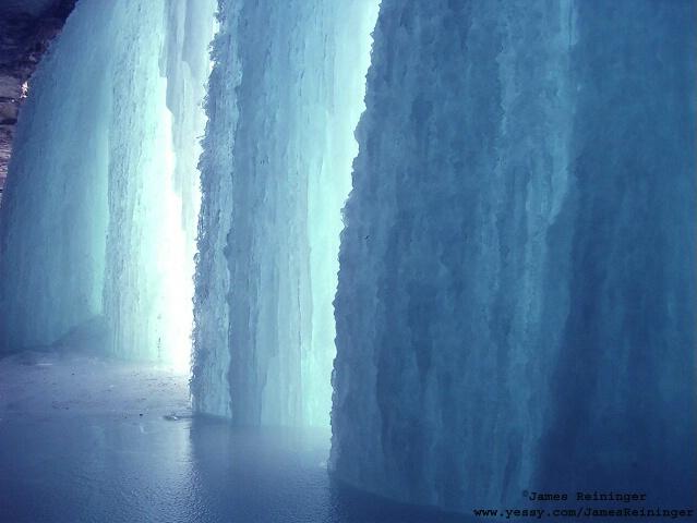 Underneath Minnehaha Falls in January