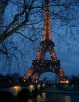Park bench view of Paris