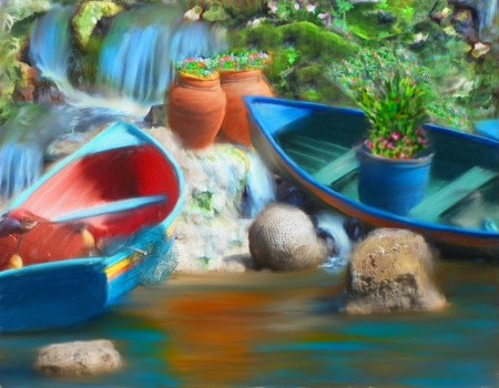 Boats on a waterfall