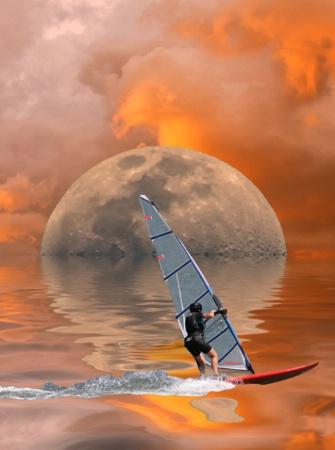 Sailboard, Moon and Sky
