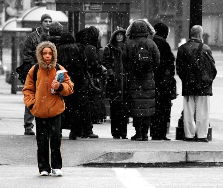 Girl at Bus Stop