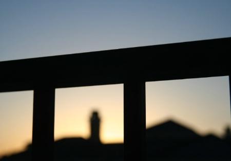Balcony Railing at Sunrise