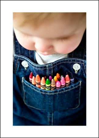 Crayons in her pocket