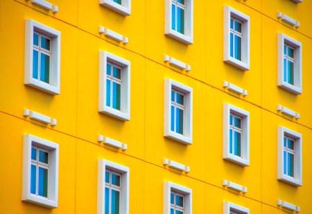BLUE  WINDOWS - YELLOW  WALLS