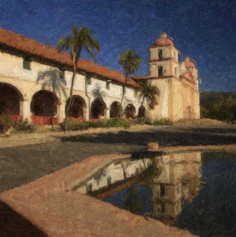Santa Barbara Mission Reflection - ID: 4118402 © Leslie McLain