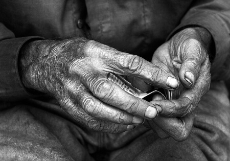 Homeless Man's Weathered Hands
