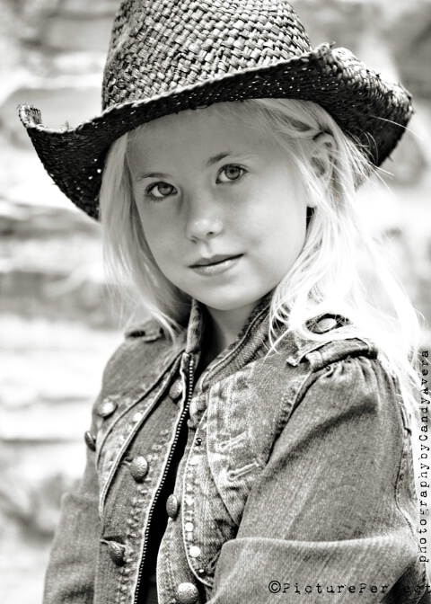 Cowgirl in Black and White