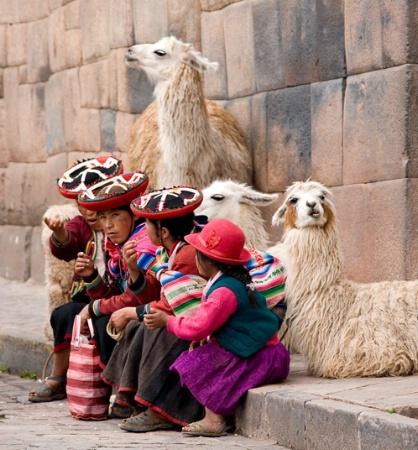 Family with llamas-Cusco, Peru