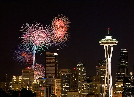 Fireworks Celebration Over The Space Needle