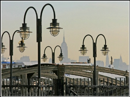 Empty piers on the Hudson, NY