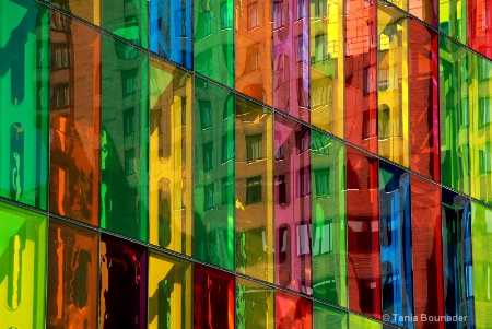 Reflections on colored glass building