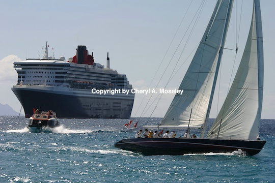 Queen Mary 2 w/sailboat - ID: 9175952 © Cheryl  A. Moseley