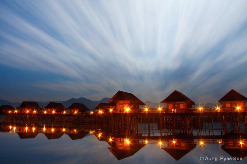 Beauty of Innlay lake Night Scene
