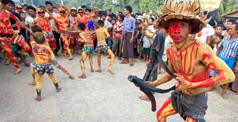 The burmese Culture Tiger Dance