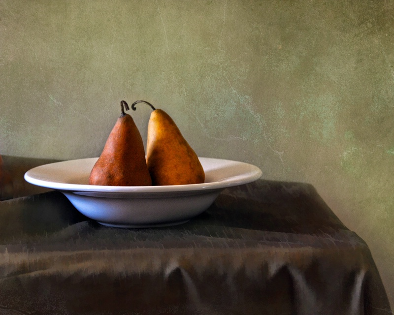 Two Brown Pears in Bowl