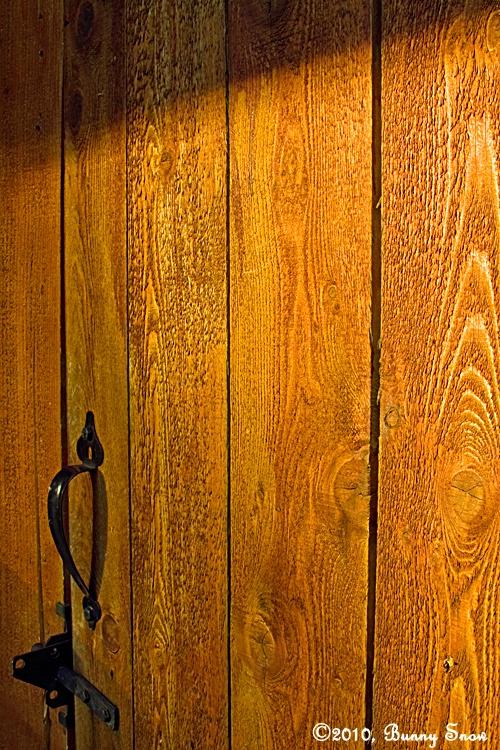 Side lighting wooden gate