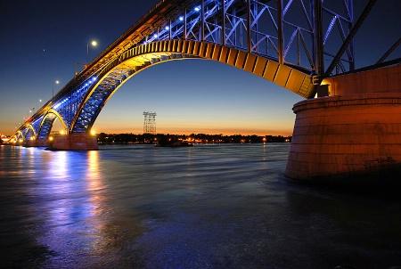 Buffalo Peace Bridge - Blue and Gold