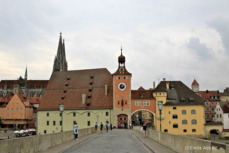 Regensburg City wall, tower, gate and Cathedral  - ID: 10847385 © Emile Abbott