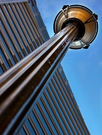 Looking up a street lamp