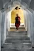 monk in lines