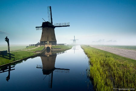Windmills in the Early Morning Mist