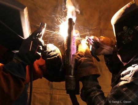 buddy welding in the garage