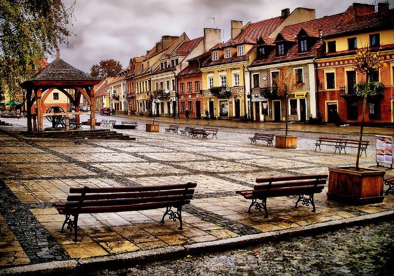 Rainy autumn in Sandomierz