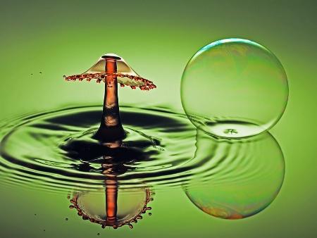 A bubble and a splash