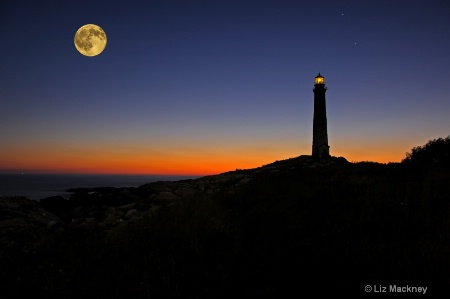 Thacher Island Sunrise With Full Moon