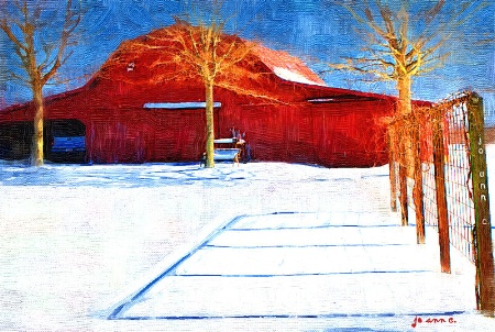 Snow at the Old Red Barn...