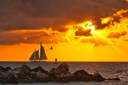 departing sunset