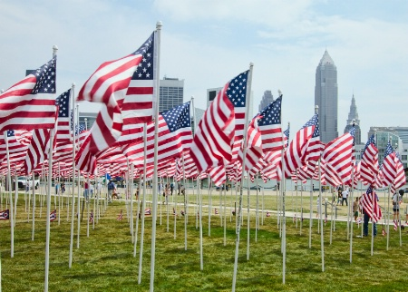 Cleveland Covered In Flags