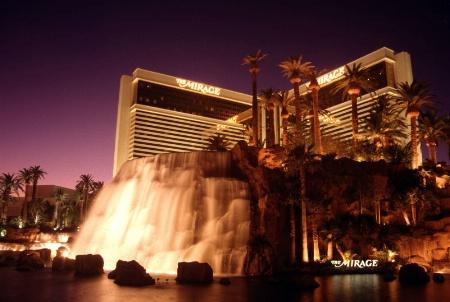 Mirage Hotel waterfall at dusk, Las Vegas