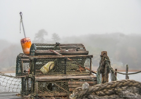 Lobster traps in the fog, Maine