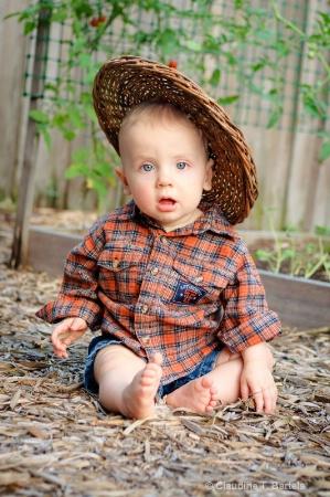 Baby in the vegetable garden