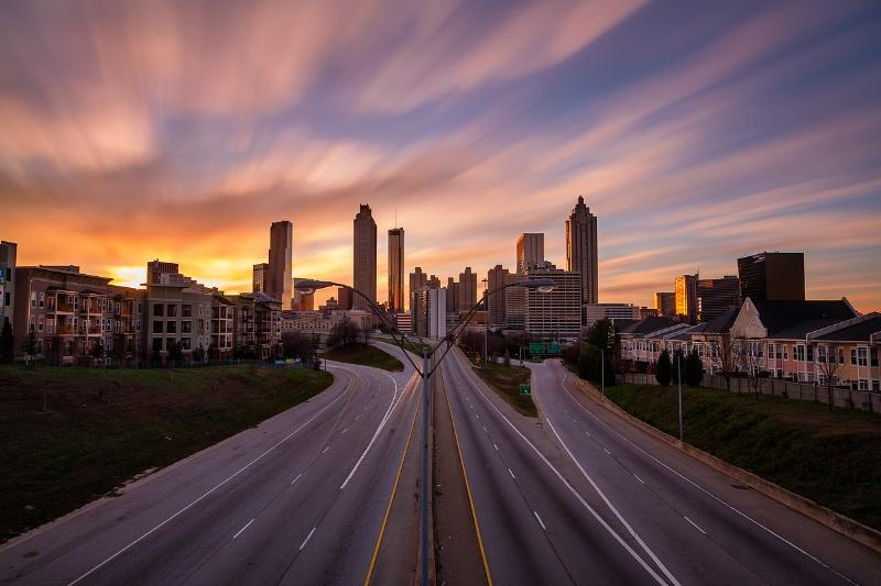 Atlanta cityscape long exposure