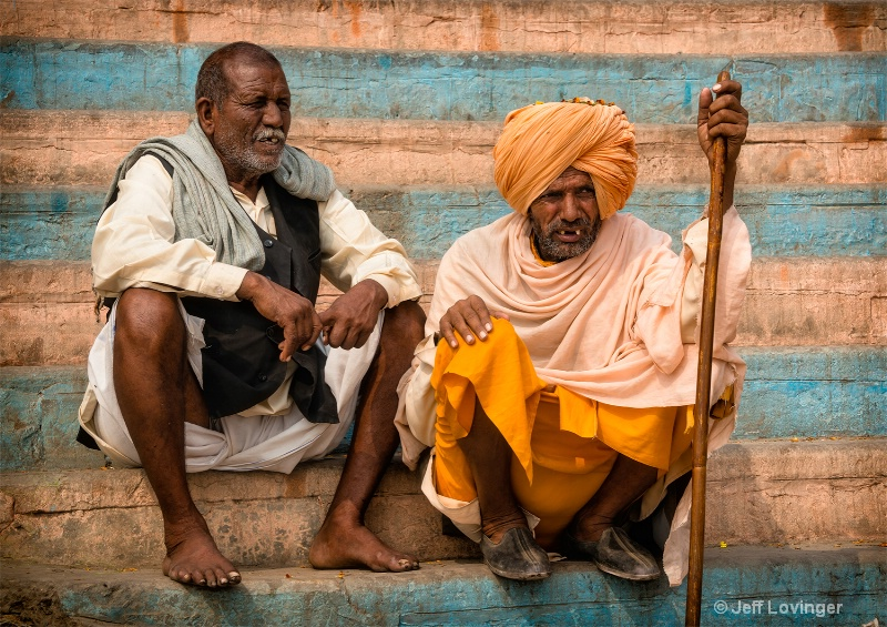 Two Men on the Ghats, Varanassi, India    - ID: 14271275 © Jeff Lovinger