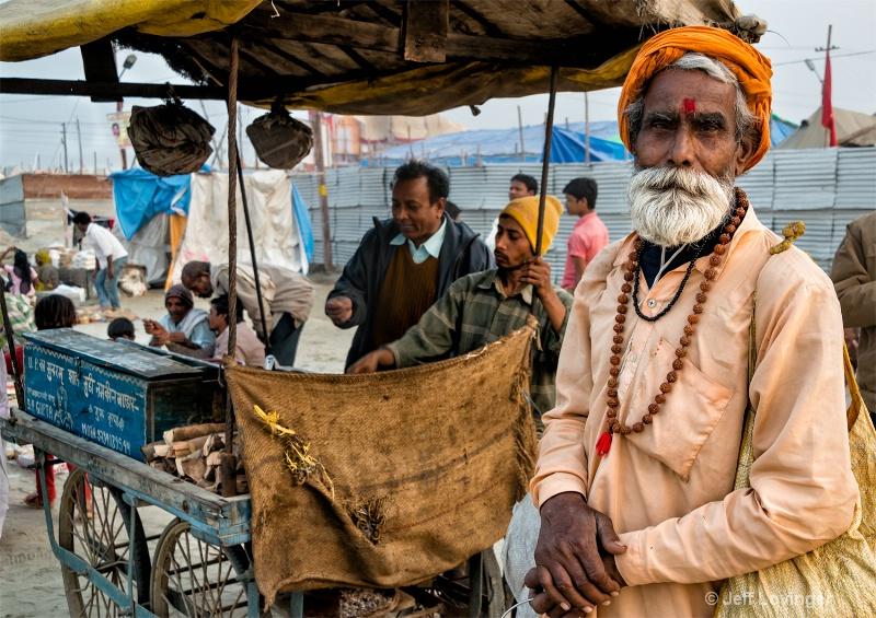 Kumbh Mela Celebration, Devotee and Food Cart,  Al - ID: 14271278 © Jeff Lovinger