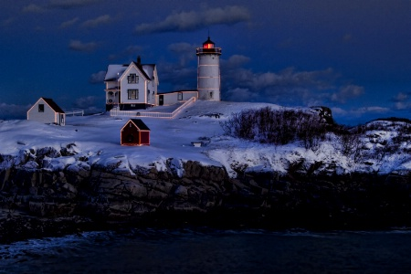 Christmas at Nubble Light