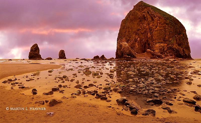 Haystack Rock at Dusk, Cannon Beach, Oregon - ID: 14370565 © Martin L. Heavner