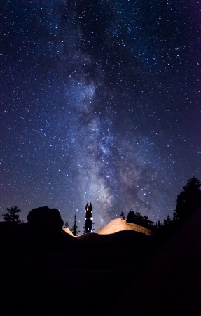 """""""Tron"""" shot with the Milky Way in the back"""