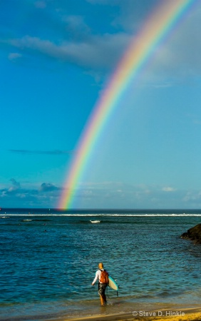 A Rainbow & Surfer, Hawaii