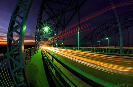 Grand Island Bridge Light Trails