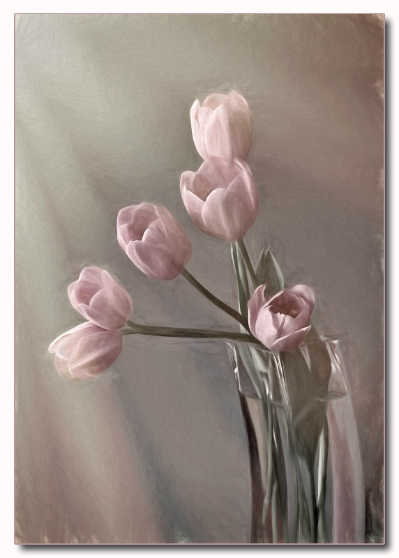 tulips in vase painting